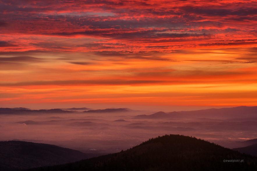 Wschód słońca z Wysokiego Kamienia, warsztaty fotograficzne Szklarska Poręba