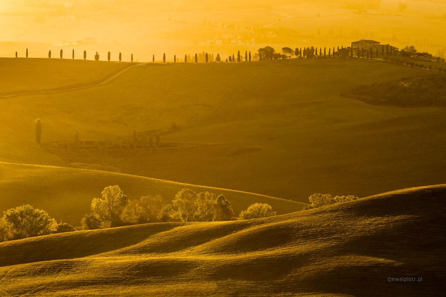 Wschód słońca w Toskanii jesienią, wyprawa foto
