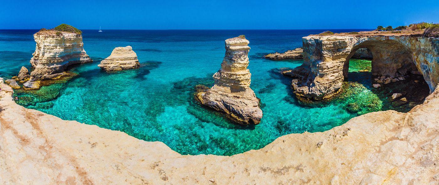 wybrzeże Torre Sant' Andrea, Salento wybrzeże, Puglia, Apulia, Włochy, fotowyprawa