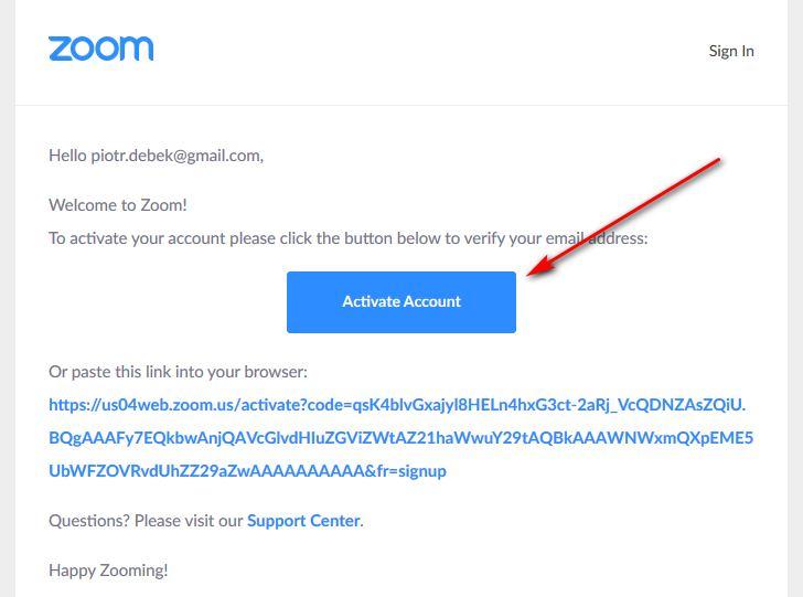 Zoom - aktywowanie konta