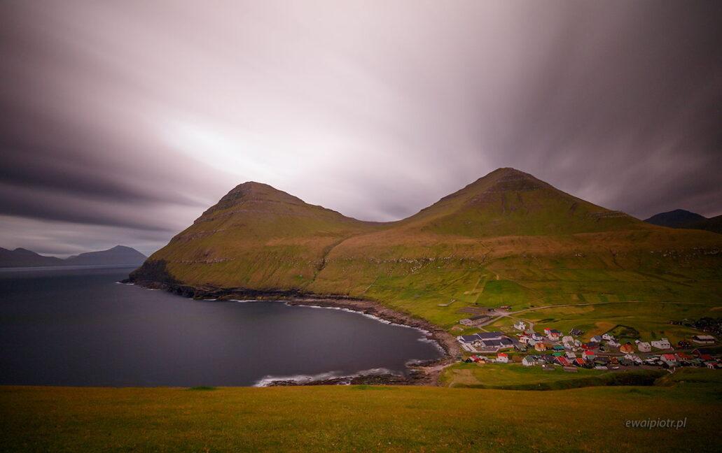 Wioska Gjogv, Wyspy Owcze, plener fotograficzny, długa ekspozycja