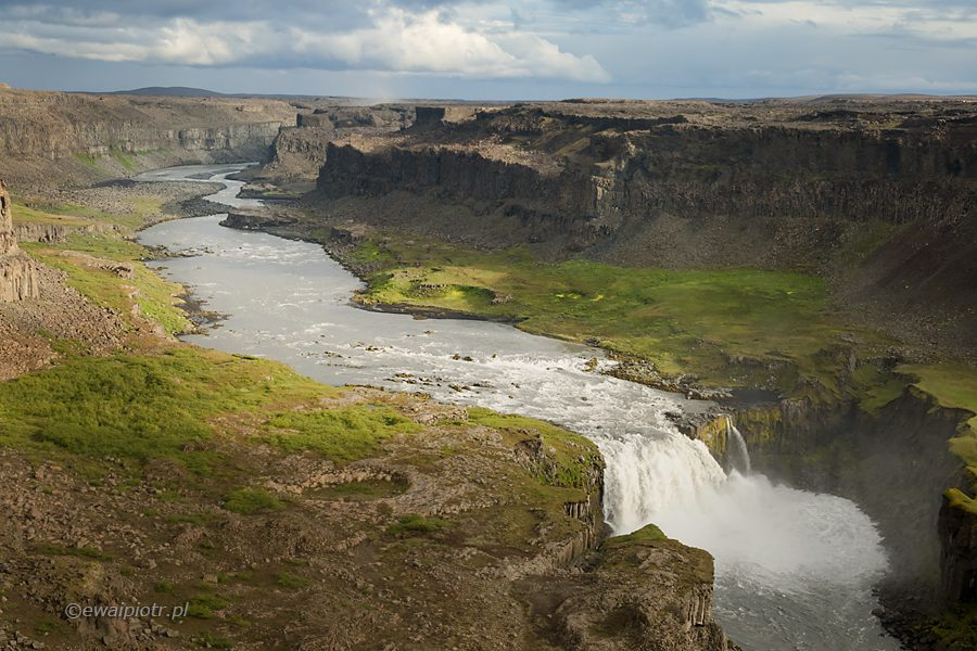 Hafragilsfoss, wodospad, dolina, Islandia, przewodnik dla fotografa