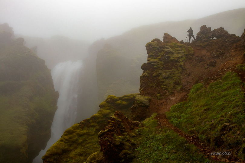 Skalabrekkufoss we mgle, najładniejsze wodospady Islandii, poradnik
