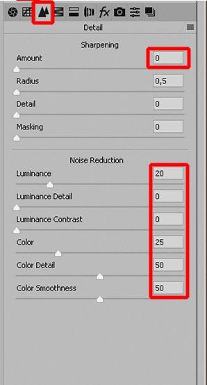 ustawienia domyślne Adobe Camera Raw
