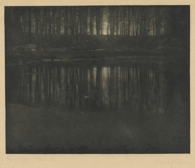 Edward Steichen - Moonlight The Pond, heliograwiura, czysta fotografia
