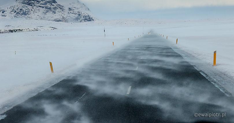 zamieć, Islandia, słaba widoczność, droga, śnieg, zawieja