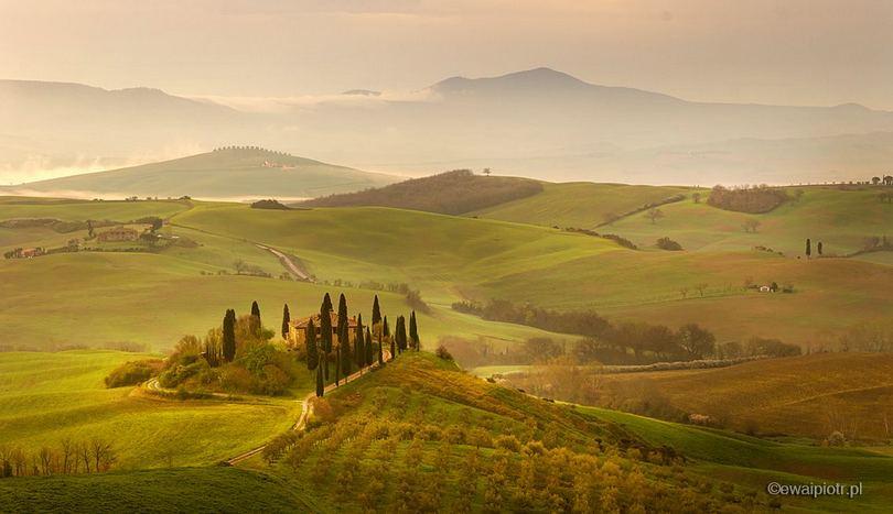 Willa Belvedere o poranku. Toskania, miejsca do fotografowania w Toskanii