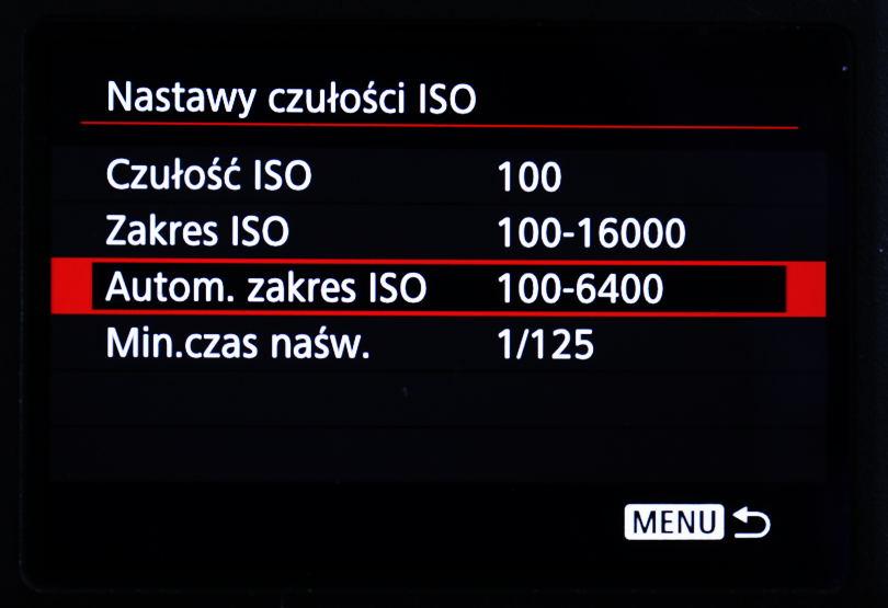 Automatyczny zakres ISO, regulacja czułości matrycy