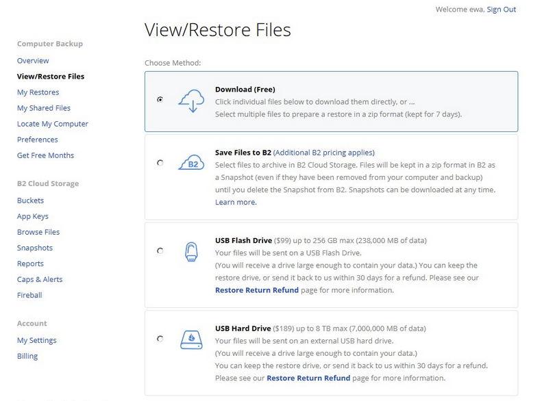 Backblaze - 4 metody odzyskiwania danych z chmury