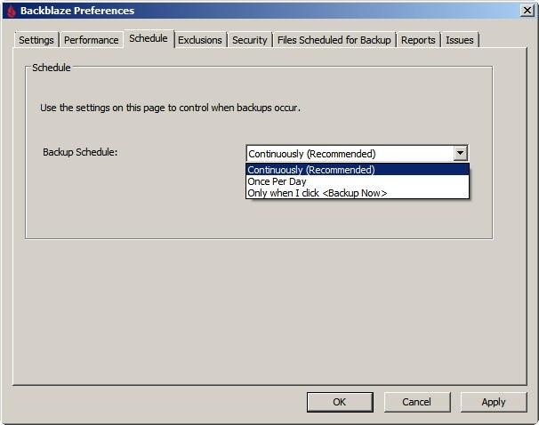 Backblaze - opcja Schedule - częstotliwość wykonywania kopii, backup fotografii online
