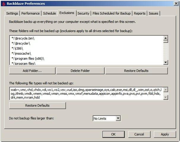 Backblaze - opcje Exclusions - jak wykluczyć folder z archiwum
