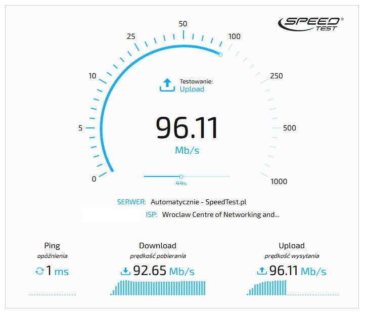 Speedtest - test wydajności dostępu do internetu